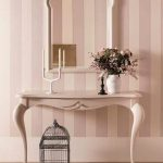 Pink Wooden Console Table With Curvy Legs, Carving Detailes On The Middle Front, Matchign Mirror