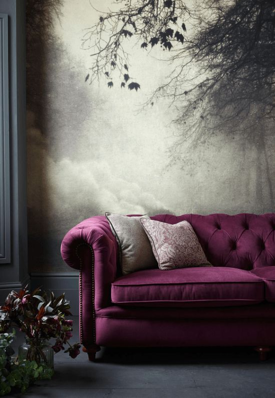 room with grey floor, grey white view wall paper, grey wall, purple buttoned sofa