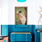 Room With Half Top On White Painting And Half Below On Blue Painting Including The Furniture And The Picture