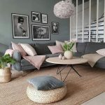 Round Coffee Table With Brown Wooden Top, Geometrical Black Metal Legs