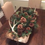 Rustic Christmas Decoration With Long Wooden Bowl With Dry Pines, Cones, Green Leaves