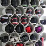 Shoe Racks On White Pipes