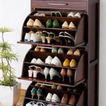 Show Organizer Cabinet With Imporessive Design In Brown Wood, And Top Drawer