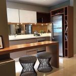 Small Kitchen With White And Brown Cabinet, Brown Low Bar, Wooden Shelves, Grey Low Stool