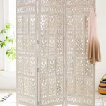 White Folding Room Divider With Beautiful Pattern