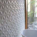 White Geometric Concrete Tiles On The Wall, Geometric Vanity, White Sink