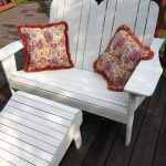 White Wooden Bench With Back, Arm Rest, Ottoman