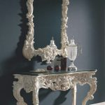 White Wooden Console Table In French Styles With A Matching Mirror