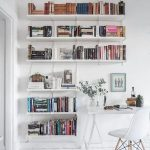 White Wooden Floating Shelves Around White Study Table With White Chair