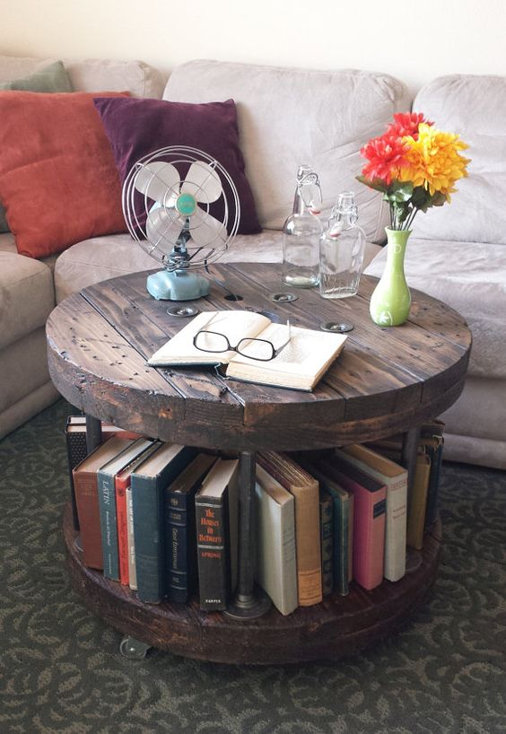 wire spool for coffee table with added partition in the middle for bookshelves