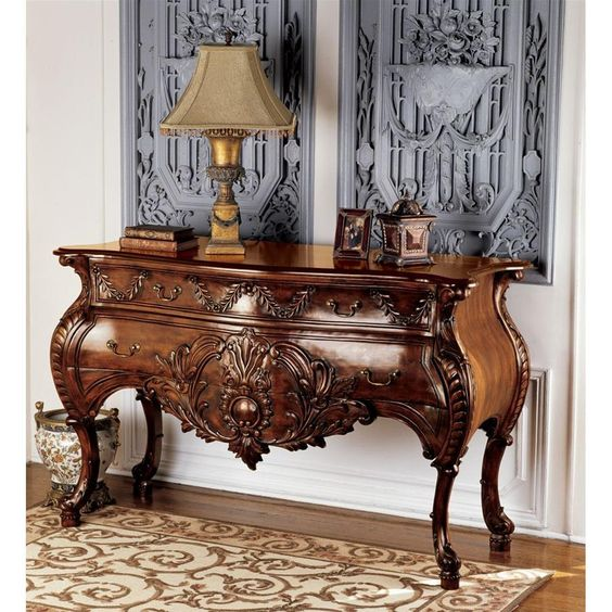 wooden console table in brown with drawers in italy designs