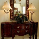Wooden Console Table With Drawers And Cabinets, Golden Knobs, Square Mirror With Details On The Frame