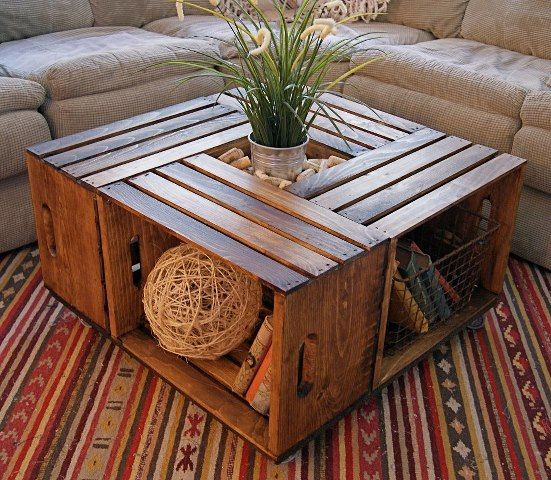wooden crates for wooden table with shelves, top middle for decoration