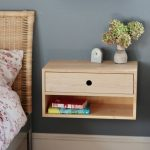 Wooden Floating Bedside Table With One Drawer, Shelf, Vase, Clock