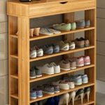 Wooden Shoe Shelves With Drawer On Top