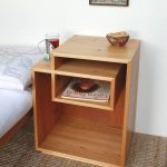 Wooden Unique Designed Square Bedside Shelves