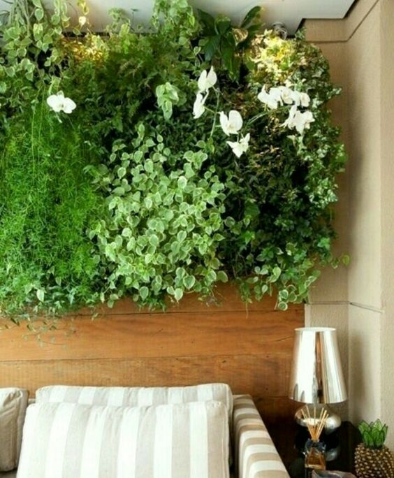 wooden with plants on top, beige wall, sofa, black side table, lamp
