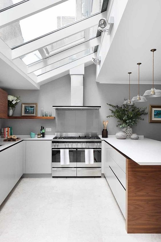 attic kitchen, white floor, white cabinet, white top, grey wall, white ceiling, glass windows on the roof, pendants