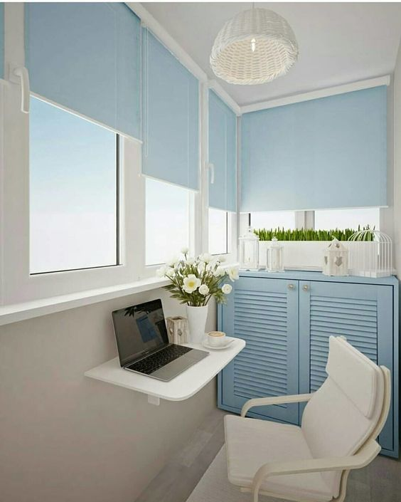 balcony with glass window, blue shadow, blue cabinet, floating small white table, white chair