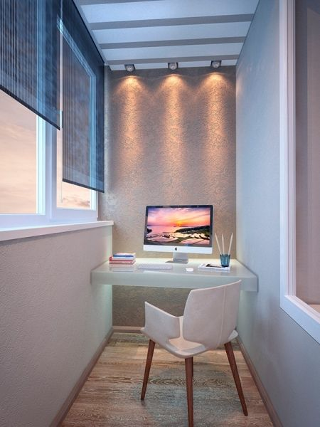 balcony, wooden floor, white wall, shade on window, lighting fixture, floating table on wall suppor, white modern chair