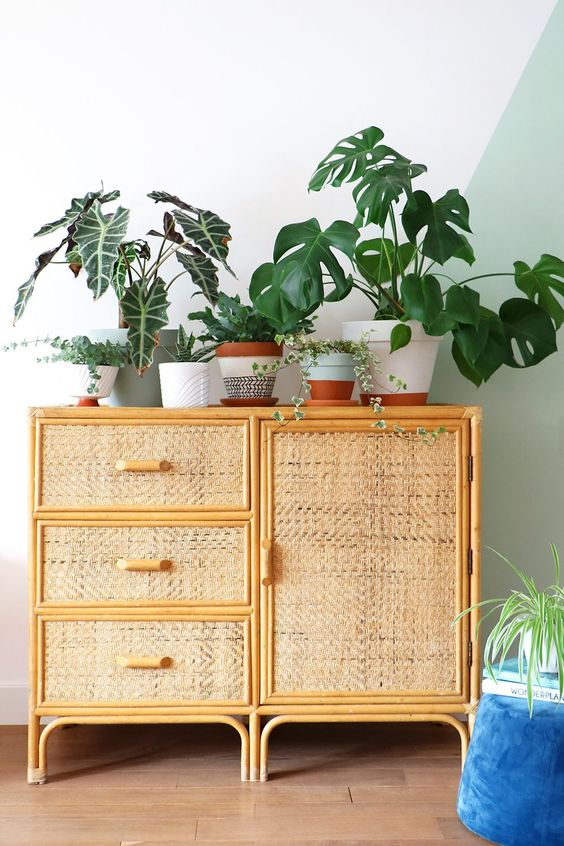 bamboo cabinet with rattan doors, wooden floor, white wall
