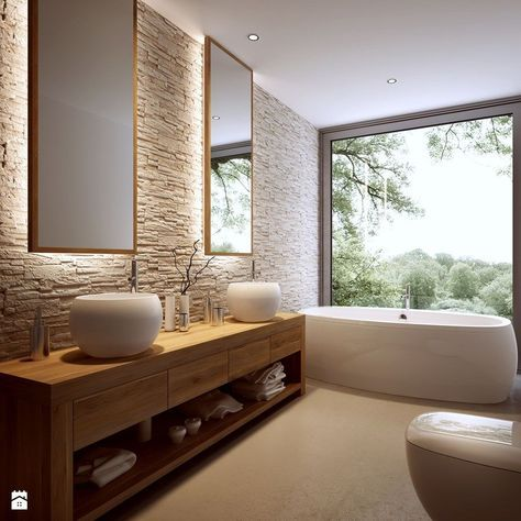 bathroom, beige floor, textured wall, wooden cabinet shelves with white sink, white tub, white toilet, large glass wall