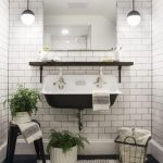 Bathroom, Black Hexagon Floor Tiles, White Subway Tiles, Ball Pendant, Black Vintage Sink, Black Stool, Black Floating Shelves