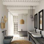 Bathroom, Grey Floor, White Wall, Wooden Vanity With White Sink, Grey Toilet, Grey Tub, Rattan Round Rug, White Wooden Ceiling
