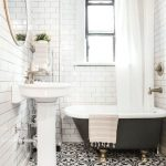 Bathroom, Patterned Floor Tiles, White Subway Walls, Wooden Ceiling, White Modern Sink, Round Mirror, Glass Pendant