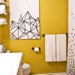 Bathroom, White Floor Tiles, Yellow Painted Wall, White Toilet, White Cabinet, White Curtain, White Painting, White Floating Shelves