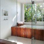 Bathroom, White Floor, Wooden Tub With White Inside, White Tiles Wall, White Wooden Planks Ceiling, Glass Partition, Wooden Floor