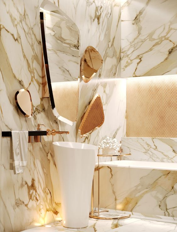 Gaining Mesmerizing Look In The Bathroom With Marble S