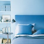 Bedroom, Blue Wall, Blue Bedding, Blue Pillow, Wooden Floor, Blue Built In Shelves