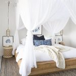 Bedroom, Brown Rug, Wooden Bed Platform, Wooden Wide Table, Moroccan Hanging Side Lamp, White Bedding, White Curtain