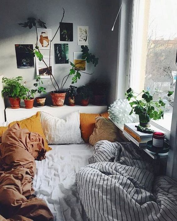 bedroom, white bedding, stripes blanket, grey wall, plants on headboard, windows sill floating shelves