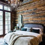 Bedroom, Wooden Floor, Stripes Rug, White Bed, Wooden Wall, Wooden Coferred Ceiling, Rustic Chandelier
