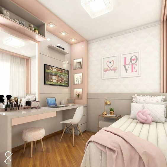 bedroom, wooden floor, white bd, white and grey wall, pink bordered accent wall, mirror, white modern midcentury, white stool