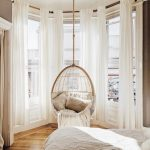 Bedroom, Wooden Floor, White Curtain, Alcove Round Space With Glass Windows, Hanging Chair