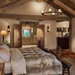 Bedroom, Wooden Floor, White Wall, Sconces, Floor Lamp, Wooden Door, Chandelier, Wooden Beams, White Bed