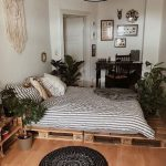 Bedroom, Wooden Floor, Wooden Crate Platform, Wooden Crate Bedside Table, White Wall, Black Pendant, Macrame, Black Study Table, Plants On Pot