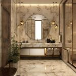 Brown Marble Living Room On Floor And Wall, Wooden Door, Glas Partition, Round Mirror, Marble Vanity Top, Shelves