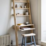 Brown Wooden Ladder Shelves Table Lean On Light Grey Wall, Wooden Stool, Brown Flooring