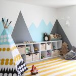 Children's Room, Grey Rug Flooring, White Yellow Stripes Rug, Colorful Tent, White Blue Grey Wall, White Shelves