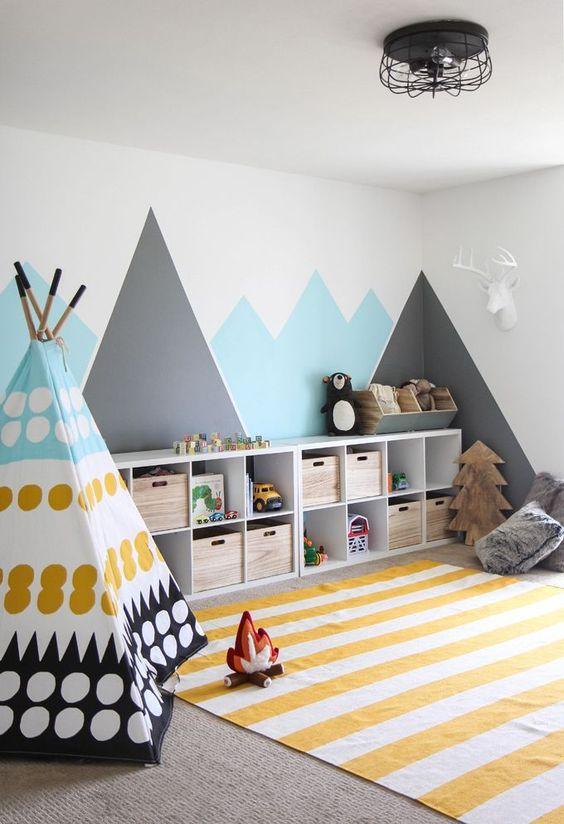 children's room, grey rug flooring, white yellow stripes rug, colorful tent, white blue grey wall, white shelves