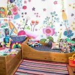 Children's Room, Wooden Floor, Colorful Stripes Rug, Colorful Wallpaper, Wooden Beds With Colorful Bedding