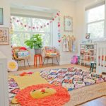 Children's Room, Wooden Floor, White Crib, White Shelves, Wooden Modern Chair, Red Stool, White Cabinet, Rattan Rug, Colorful Rug, Lion Rug