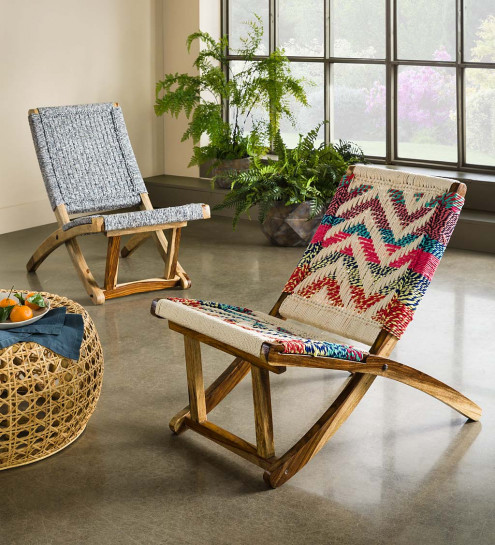 colorful woven rope folding wooden chair