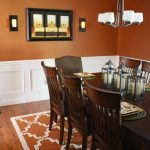 Dining Room, Brown Terracotta Wall, Wooden Floor, Wooden Dining Table Set, Brown Rug, White Covered Chandelier