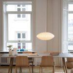 Dining Room, Chevron Wooden Floor, White Wall, Wooden Rectangle Dining Table, Wooden Dining Chair, White Long Pendant