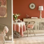 Dining Room, Light Wooden Floor, Brown Rug, Light Brown Wooden Cabinet, Table Lamp, Wooden Round Dining Table, Rattan Chair